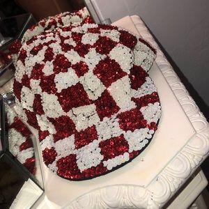 Checkered sequin hat
